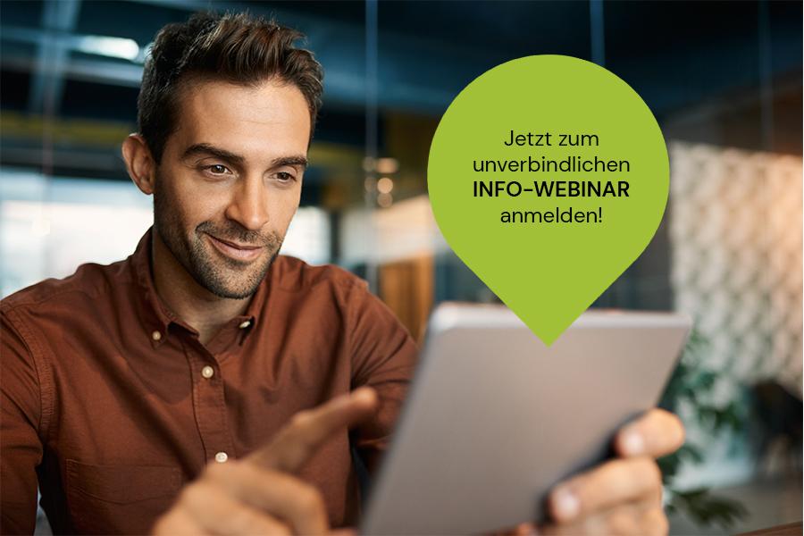Call-to-Action zur kostenlosen und unverbindlichen Anmeldung zum Info-Webinar